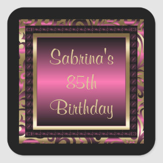 85o Rosa del texto el | de la fiesta de cumpleaños Pegatina Cuadrada