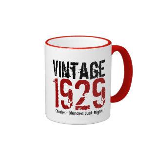 85o Vintage del cumpleaños 1929 o cualesquiera Taza De Dos Colores
