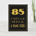 "[ Thumbnail: 85th Birthday ~ Art Deco Inspired Look ""85"" & Name Card ]"