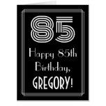 "[ Thumbnail: 85th Birthday — Art Deco Inspired Look ""85"" + Name Card ]"