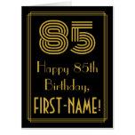 "[ Thumbnail: 85th Birthday: Art Deco Inspired Look ""85"" + Name Card ]"