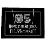 "[ Thumbnail: 85th Birthday — Art Deco Inspired Look ""85"" & Name Gift Bag ]"