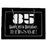 "[ Thumbnail: 85th Birthday ~ Art Deco Inspired Look ""85"" + Name Gift Bag ]"