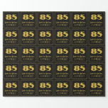 """[ Thumbnail: 85th Birthday – Art Deco Inspired Look """"85"""" & Name Wrapping Paper ]"""