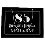 "[ Thumbnail: 85th Birthday: Art Deco Inspired Style ""85"", Name Gift Bag ]"