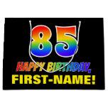[ Thumbnail: 85th Birthday: Bold, Fun, Simple, Rainbow 85 Gift Bag ]