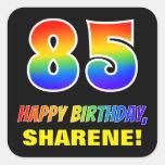 [ Thumbnail: 85th Birthday: Bold, Fun, Simple, Rainbow 85 Sticker ]