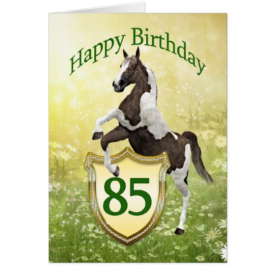 85th birthday card with a rearing horse