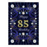 85th birthday card with masses of jewels