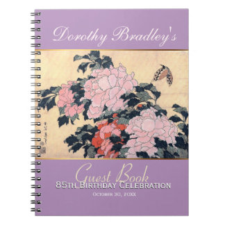 85th Birthday Celebration Butterfly Peonies Guest Notebook