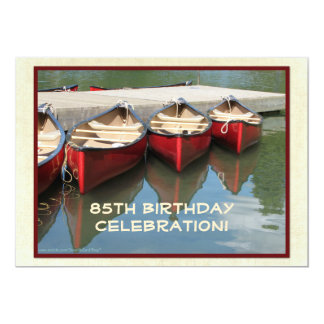 85th Birthday Celebration Invitation, Red Canoes Card