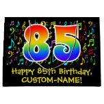 [ Thumbnail: 85th Birthday - Colorful Music Symbols, Rainbow 85 Gift Bag ]