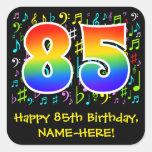 [ Thumbnail: 85th Birthday: Colorful Music Symbols, Rainbow 85 Sticker ]