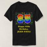 [ Thumbnail: 85th Birthday: Colorful Music Symbols, Rainbow 85 T-Shirt ]