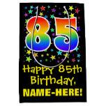 [ Thumbnail: 85th Birthday: Colorful Stars Pattern & Rainbow 85 Gift Bag ]