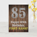 [ Thumbnail: 85th Birthday: Country Western Inspired Look, Name Card ]