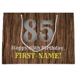 [ Thumbnail: 85th Birthday: Country Western Inspired Look, Name Gift Bag ]