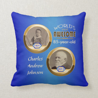 85th Birthday Custom Then Now Gold Blue Photoframe Throw Pillow