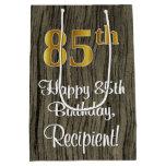 [ Thumbnail: 85th Birthday: Elegant Faux Gold Look #, Faux Wood Gift Bag ]