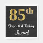 [ Thumbnail: 85th Birthday ~ Elegant Luxurious Faux Gold Look # Napkins ]