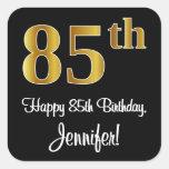 [ Thumbnail: 85th Birthday – Elegant Luxurious Faux Gold Look # Sticker ]