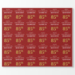 [ Thumbnail: 85th Birthday: Elegant, Red, Faux Gold Look Wrapping Paper ]