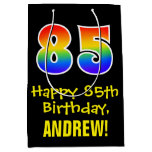 "[ Thumbnail: 85th Birthday: Fun, Bold, Colorful, Rainbow ""85"" Gift Bag ]"