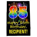 [ Thumbnail: 85th Birthday: Fun Fireworks Pattern + Rainbow 85 Gift Bag ]
