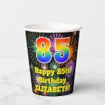[ Thumbnail: 85th Birthday: Fun Fireworks Pattern + Rainbow 85 ]