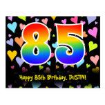 [ Thumbnail: 85th Birthday: Fun Hearts Pattern, Rainbow 85 Postcard ]