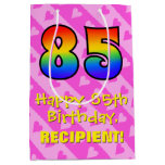 [ Thumbnail: 85th Birthday: Fun Pink Hearts Stripes; Rainbow 85 Gift Bag ]