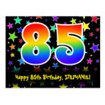 [ Thumbnail: 85th Birthday: Fun Stars Pattern, Rainbow 85, Name Postcard ]