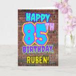 [ Thumbnail: 85th Birthday - Fun, Urban Graffiti Inspired Look Card ]