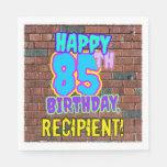 [ Thumbnail: 85th Birthday ~ Fun, Urban Graffiti Inspired Look Napkins ]
