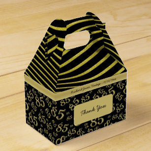 85th Birthday Gold And Black Collage Pattern Favor Box