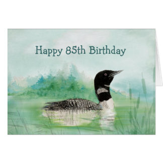 85th Birthday Humor Watercolor Loon Bird Nature Card