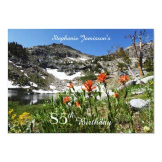 85th Birthday Invitation, Mountains, Wildflowers Card