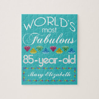 85th Birthday Most Fabulous Colorful Gem Turquoise Jigsaw Puzzle