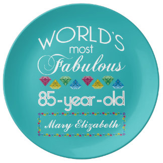 85th Birthday Most Fabulous Colorful Gem Turquoise Plate