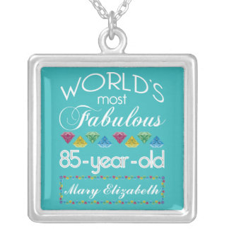 85th Birthday Most Fabulous Colorful Gem Turquoise Silver Plated Necklace