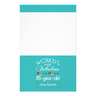 85th Birthday Most Fabulous Colorful Gem Turquoise Stationery