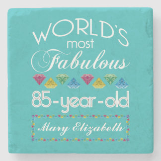 85th Birthday Most Fabulous Colorful Gem Turquoise Stone Coaster