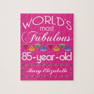 85th Birthday Most Fabulous Colorful Gems Pink Jigsaw Puzzle