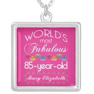 85th Birthday Most Fabulous Colorful Gems Pink Silver Plated Necklace
