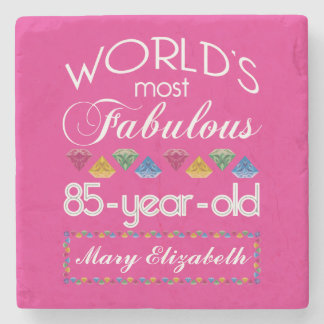 85th Birthday Most Fabulous Colorful Gems Pink Stone Coaster