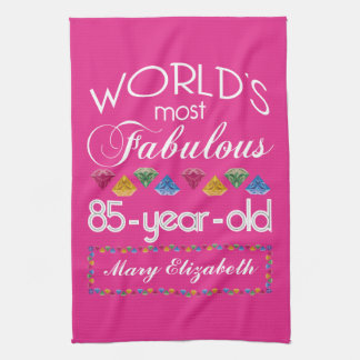 85th Birthday Most Fabulous Colorful Gems Pink Towel