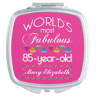 85th Birthday Most Fabulous Colorful Gems Pink Vanity Mirror