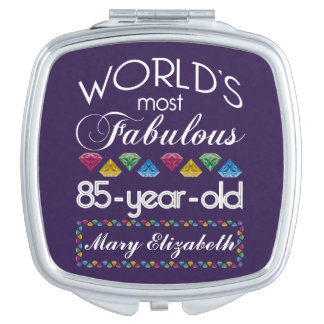 85th Birthday Most Fabulous Colorful Gems Purple Mirror For Makeup
