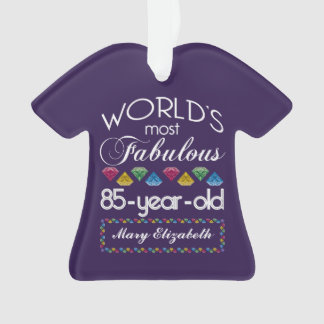 85th Birthday Most Fabulous Colorful Gems Purple Ornament