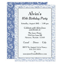 85th Birthday Party Blue and White Number Pattern Invitation